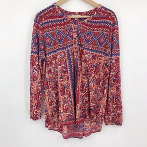 Lucky Brand Long Sleeve Popover Top Red Blue Boho